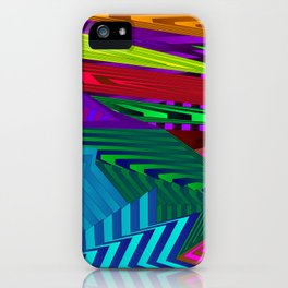 Fancy neon landscap with stylised light blue mountains, sea and Sun. iPhone Case