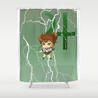 sailor jupiter Shower Curtains featuring Sailor Jupiter by artwaste