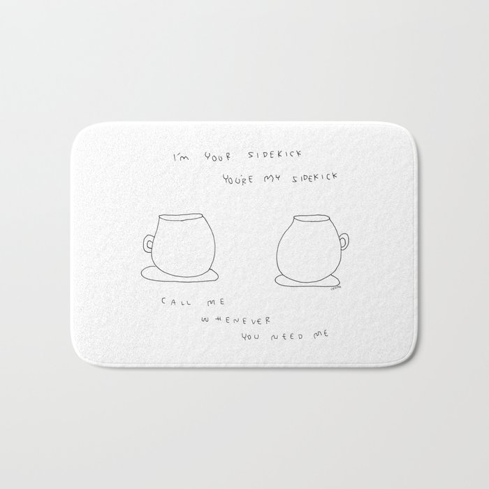 Best Friends Coffee Cups - kitchen illustration cafe tea family Bath Mat