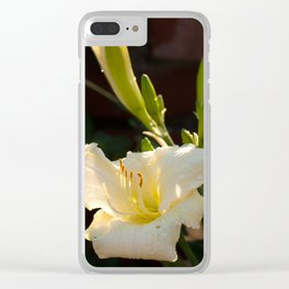 White Daylily Clear iPhone Case