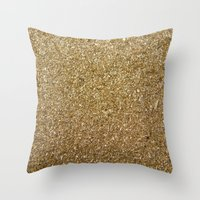 rose gold Throw Pillows featuring Gold by Rose Wierts