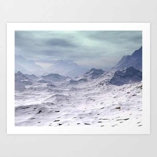Snow Covered Mountains Art Print