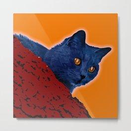 Blue Cat in Tree Metal Print