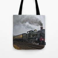 ashton irwin Tote Bags featuring Rood Ashton Hall steam locomotive by PICSL8
