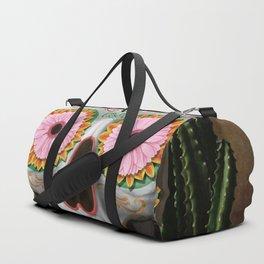 Flora - Sugar Skull with Cactus, Red Roses, Avocado and Papaya Duffle Bag