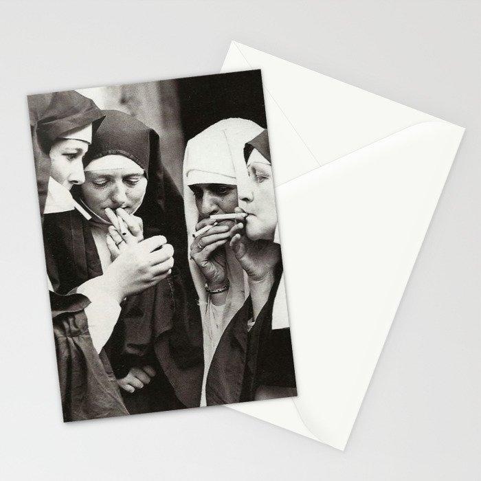 Nuns Smoking Stationery Cards
