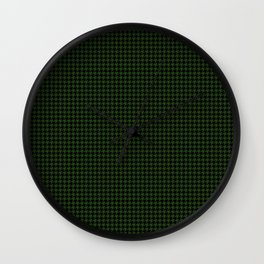 Dark Forest Green and Black Houndstooth Check Wall Clock