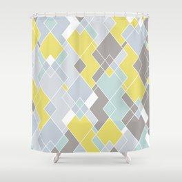 Yellow & Gray Geometric Pattern Shower Curtain