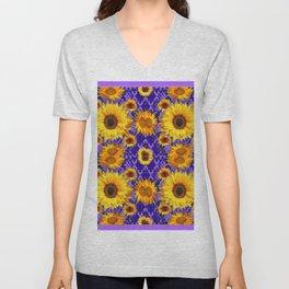 Purple Patterns Floral  Yellow  Sunflower Art Unisex V-Neck
