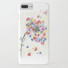 Dandelion watercolor illustration, rainbow colors, summer, free, painting iPhone Case