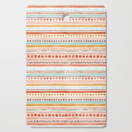 Boho Stripes - Watercolour pattern in rusts, turquoise & mustard. Nursery print Cutting Board