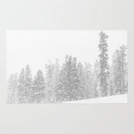 Snowy Slope // Mountain Ski Landscape Photography Black and White Snowboarding Winter Decor Rug