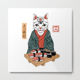 Neko Sushi Bar White Metal Print