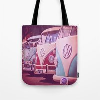 vans Tote Bags featuring Travel vans by Agni Pettemeridi