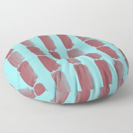 Red and Pastel Blue Grid Brushstroke Pattern 2021 Color of the Year Passionate & Breezy Aqua Floor Pillow