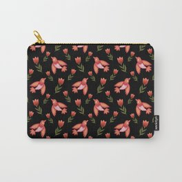 Pretty cute little wild canary birds, red blooming garden tulips, feminine nature flowers black pattern. Hello spring. Gift ideas for tulip lovers. Botanical floral animal artistic design. Carry-All Pouch