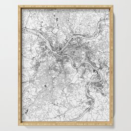 Pittsburgh White Map Serving Tray