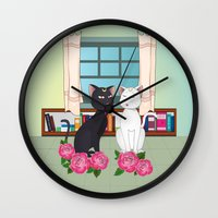 anime Wall Clocks featuring Anime Cats by MyimagesArt