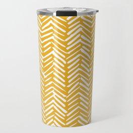 Boho Mudcloth Pattern, Summer Yellow Travel Mug