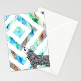 Squared Moon Wolf Stationery Cards