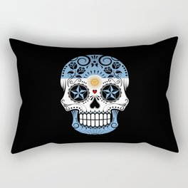 Sugar Skull with Roses and Flag of Argentina Rectangular Pillow