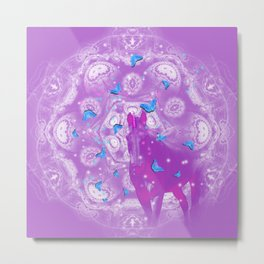 Pink unicorn and blue butterflies Metal Print