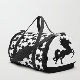 Simple Black Unicorn Duffle Bag
