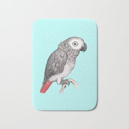 Cute African grey parrot Bath Mat
