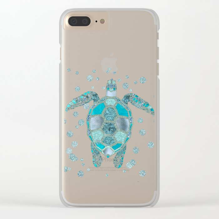 Glamour Aqua Turquoise Turtle Underwater Scenery Clear iPhone Case