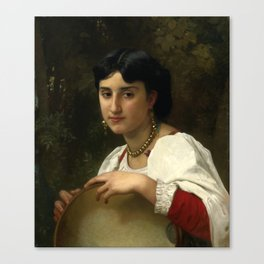 "William-Adolphe Bouguereau ""Italienne au Tambourin (Italian woman with tambourine)"" Canvas Print"