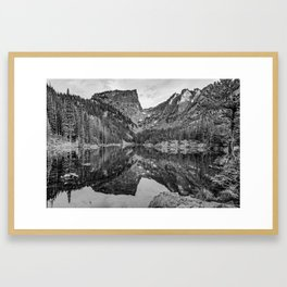 Dream Lake Reflections and Rocky Mountain National Park Landscape - Black and White Framed Art Print