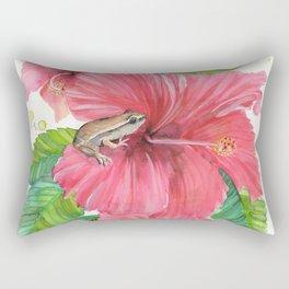 Coqui Frog & Hibiscus Flower Rectangular Pillow