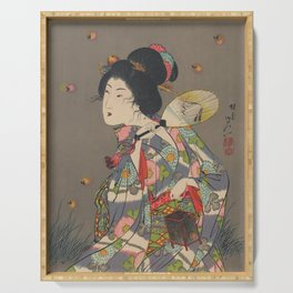 Japanese Art Print - Woman and Fireflies Serving Tray