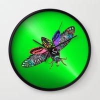 goth Wall Clocks featuring Goth Moth by Jan4insight