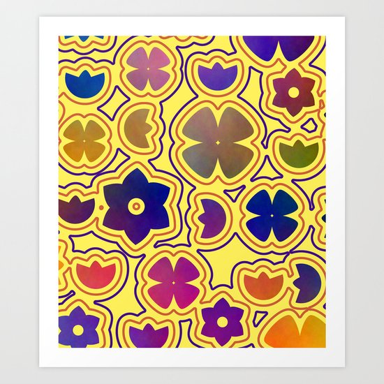 Floral doodles in yellow Art Print