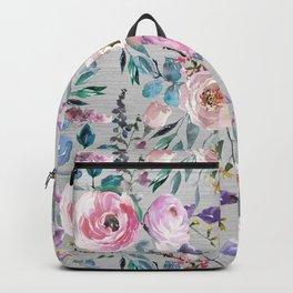 Botanical pink violet lilac hand painted floral Backpack