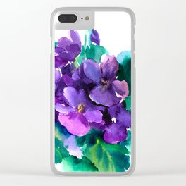 Violet Flowers  Sainpaulia African Violets violet purple yellow floral decor Clear iPhone Case