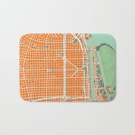 Buenos Aires city map orange Bath Mat