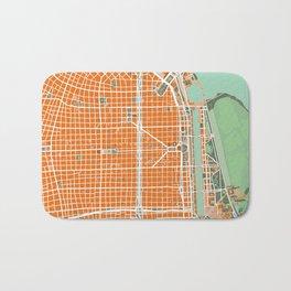 Buenos Aires city map orange Bath Mat