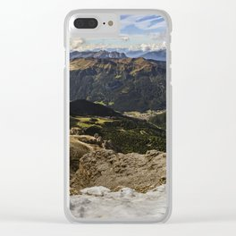 view from sass pordoi - Dolomites Panorama Clear iPhone Case