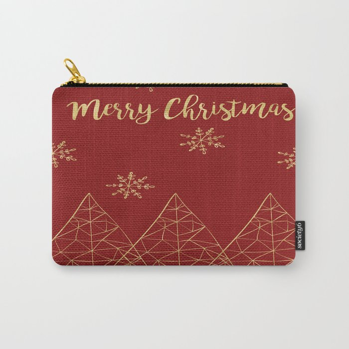 Merry Christmas Red and Gold Carry-All Pouch