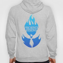 PHOENIX RISING blue with flames and heart center Hoody
