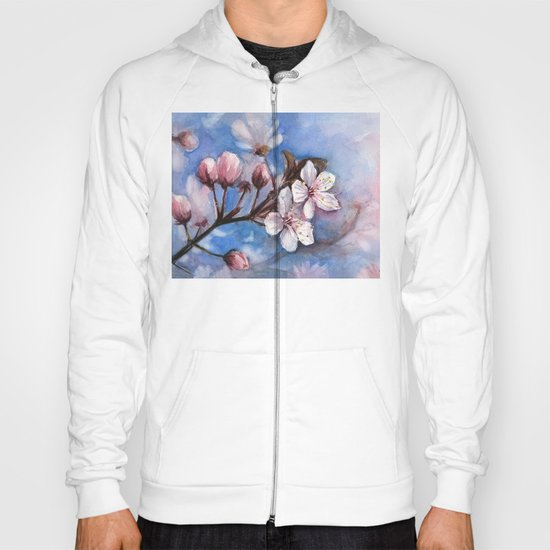 Cherry Blossoms Watercolor Spring Flowers Hoody