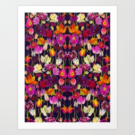 Pink and Orange Tulips Art Print