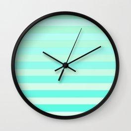 Green Teal Stripe Fade Wall Clock