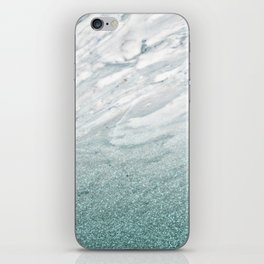 Calacatta Verde glitter gradient iPhone Skin