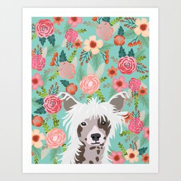 Chinese Crested floral dog breed pattern cute dog gifts for dog lovers Art Print