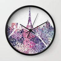 paris map Wall Clocks featuring Paris Skyline + Map #1 by Map Map Maps