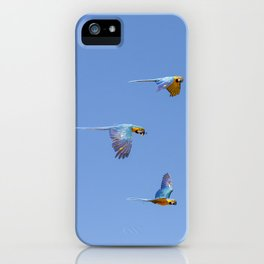 Blue macaws flying under blue sky iPhone Case