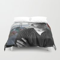 kerouac Duvet Covers featuring Jack Kerouac San Francisco  by All Surfaces Design